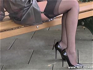 nasty mummy drains in public in nylons garters high-heeled slippers