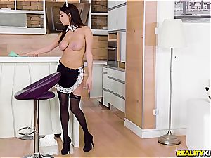 buxomy French maid Anissa Kate takes her job highly seriously