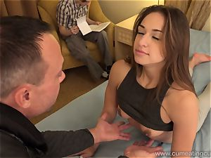 Sara Luvv Cuckolds Her hubby and Makes him inhale trouser snake