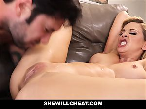 SheWillCheat hotwife wife Gags on cock