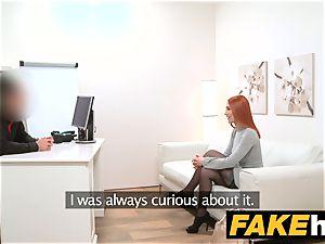 fake Agent redhead chooses stiff pecker over moist cooch