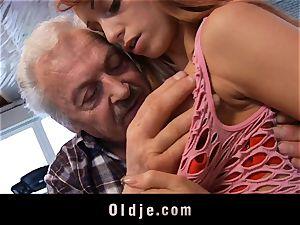 Oldman Gustavo happy to pummel cool Erica Fontes