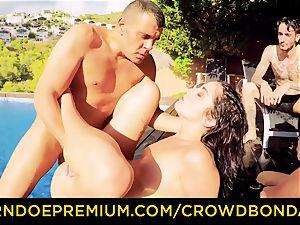 CROWD bondage Outdoor pool fuckfest for scorching Loren Minardi